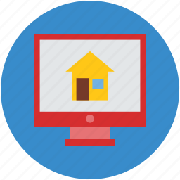computer screen, house display, internet, online buying, real estate icon