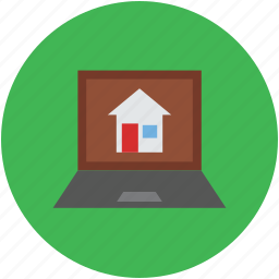 home searching, house display, internet, laptop screen, online searching icon
