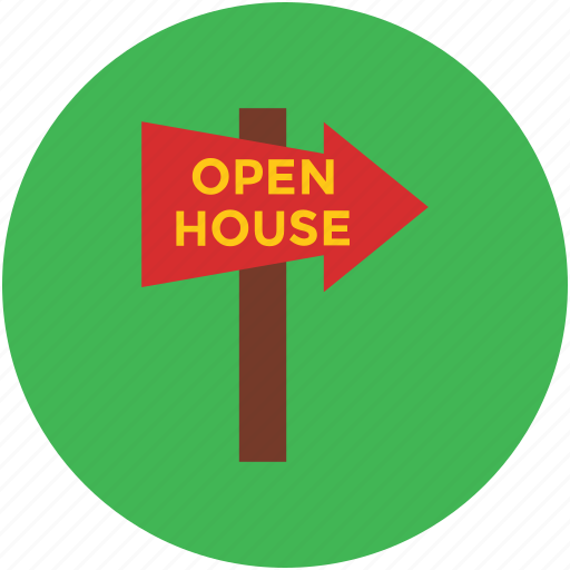 arrow pointing, direction, guidepost, indication, info, open house, signpost icon