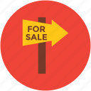 arrow pointing, direction, for sale, guidepost, indication, info, signpost icon