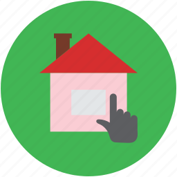 finger touch, hand gesture, house, house searching, online property, pointing icon