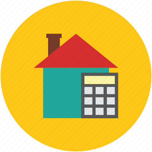 calculate, calculator, finance, house, property value icon