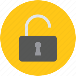 lock open, opened lock, privacy, protection, security, unlock icon