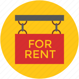 for rent, hanging sign, info, information, message, notice, real estate icon