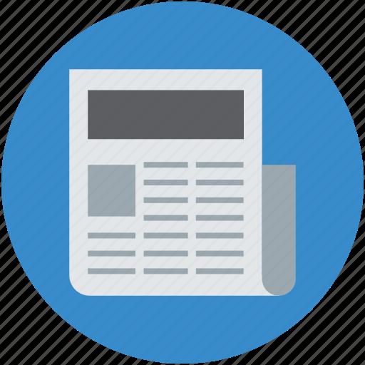 news, newspaper, newsprint, press, print media icon