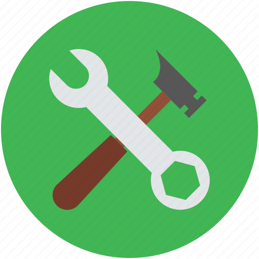 construction, hammer, repairing, settings, workshop tools, wrench icon