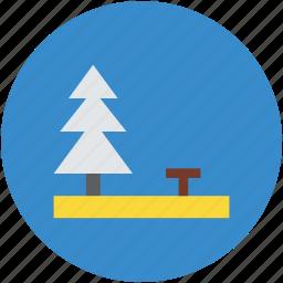 bench, fur tree, garden, greenery, lawn, park, yard icon