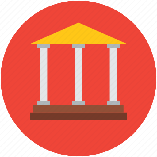 bank building, building columns, building exterior, court building, real estate icon