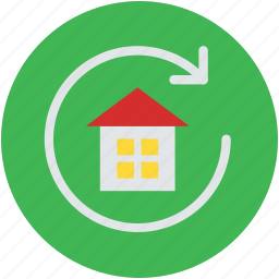 building, house, protection concept, refresh sign, webelement icon