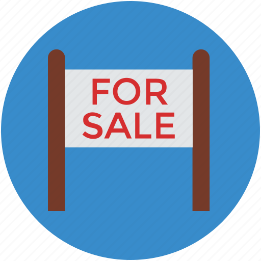 for sale, info, information, message, notice, real estate icon