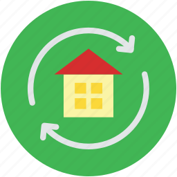 house, refresh, reload property, replacement, rotating sign icon