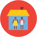 couple, couple in home, house, hut, relationship icon