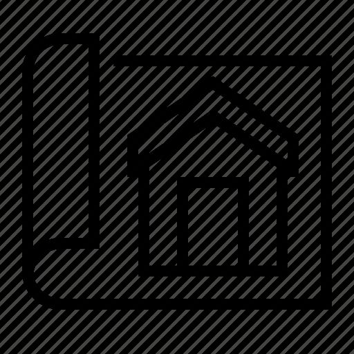 architecture, construction, estate, home, plan, property icon