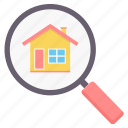 building, find, home, house, magnifier, property, search icon