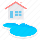 building, estate, farmhouse, pool, real, swimming icon