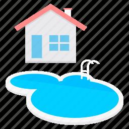 building, estate, farmhouse, pool, real, swimming icon
