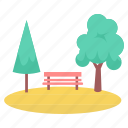 bench, environment, garden, nature, park, plant, tree icon