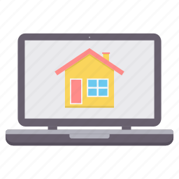 building, computer, design, graphic, home, house, laptop icon