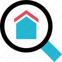 home, house, rental, search icon