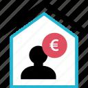 euro, home, house, money icon