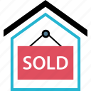 door, home, sign, sold icon