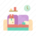 box, clock, estate, real, sofa icon