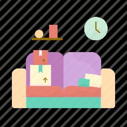 box, clock, estate, real, sofa icon