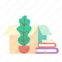 books, box, estate, flowerpot, real icon