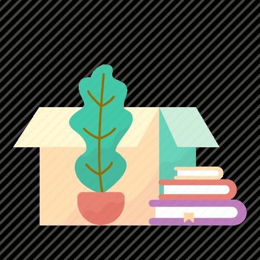 books, box, estate, flowerpot, real icon