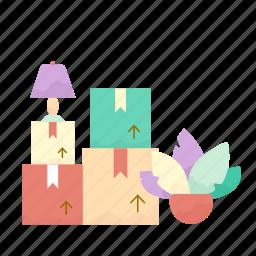 box, estate, flowerpot, lamp, real icon