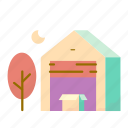 box, estate, real, storage, tree icon
