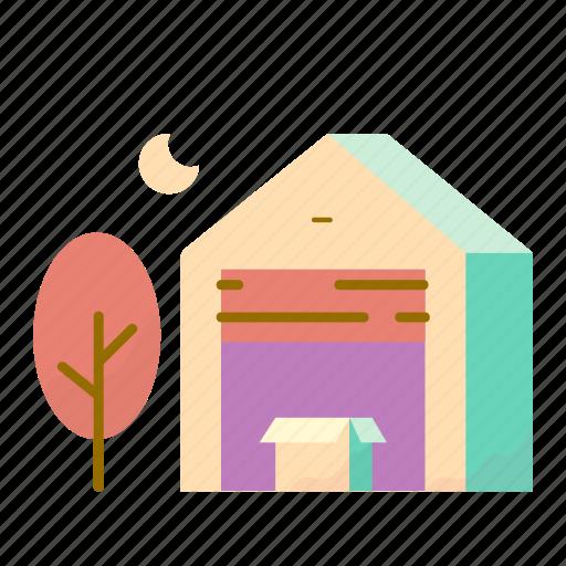 box, estate, real, storage, tree icon