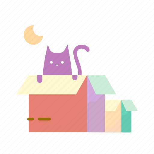 box, cat, estate, moving, real icon