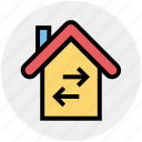 apartment, arrows, home, house, property, real estate, right and left arrows