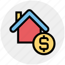 apartment, dollar, dollar sign, home, house, property, real estate