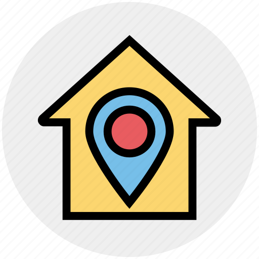 Apartment, home, house, house location, map pin, property, real estate icon - Download on Iconfinder