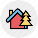 apartment, cottage, home, house, property, real estate, tree icon