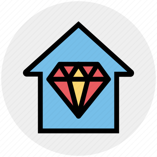 Apartment, crystal, diamond, home, house, property, real estate icon - Download on Iconfinder