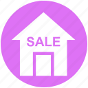 apartment, home, house, property, real estate, sale, sale house icon