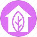 agriculture, apartment, home, house, leaf, property, real estate icon