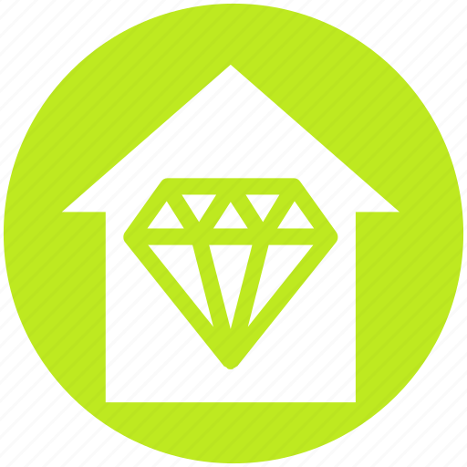 apartment, crystal, diamond, home, house, property, real estate icon