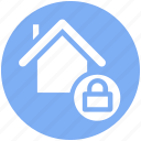 apartment, home, house, house lock, property, real estate, security icon