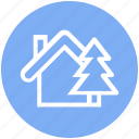 apartment, cottage, home, house, property, real estate, tree