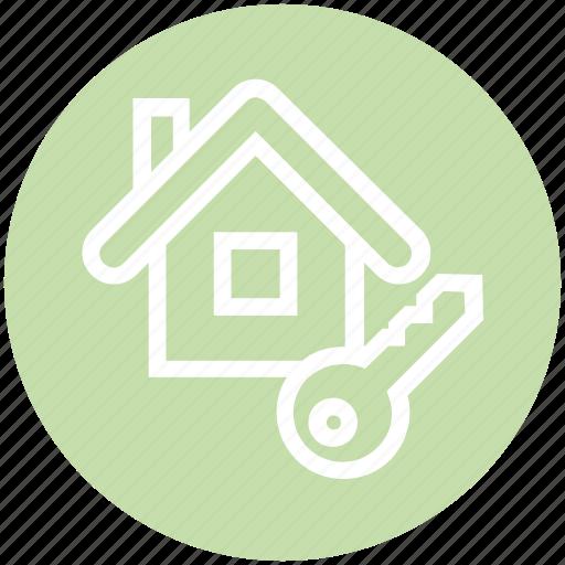 apartment, home, house, house key, key, property, real estate icon