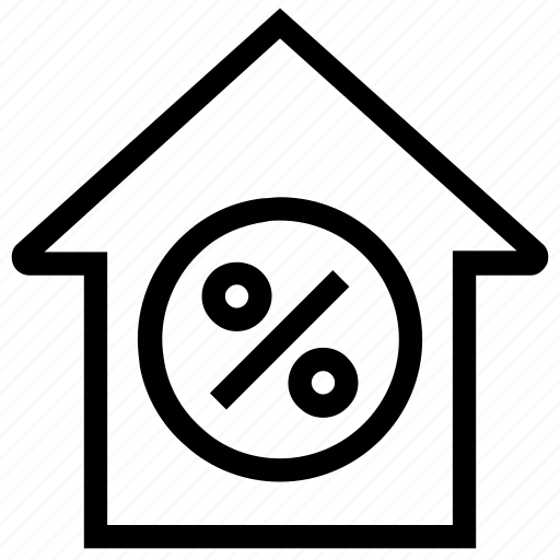 apartment, home, house, percentage, present, property, real estate icon