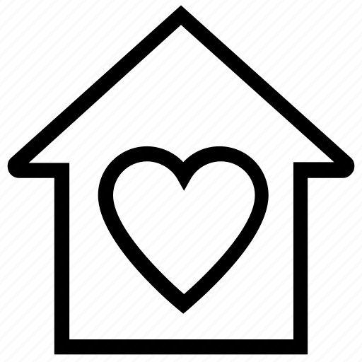 apartment, heart, home, house, property, real estate, sweet home icon