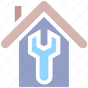 apartment, home, house, property, real estate, repair, wrench icon