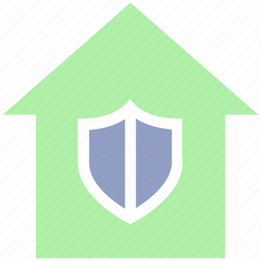 apartment, home, house, property, real estate, security, shield icon