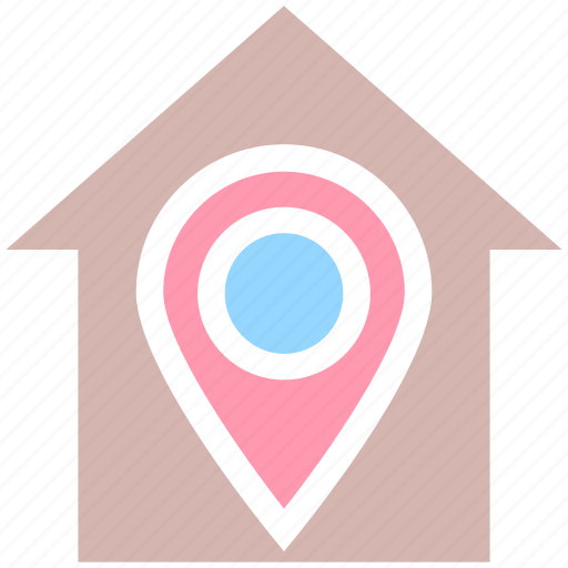 apartment, home, house, house location, map pin, property, real estate icon