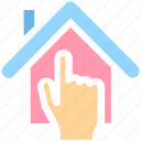 apartment, finger, hand, home, house, property, real estate icon